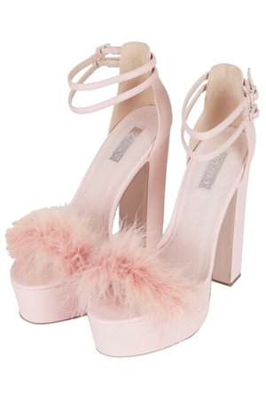 pink faux fur high heels png on We Heart It