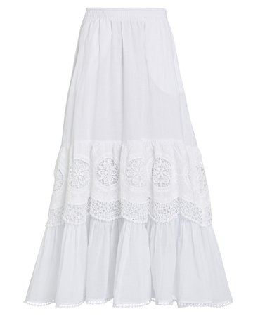Charo Ruiz Marga Lace-Trimmed Cotton Skirt | INTERMIX®