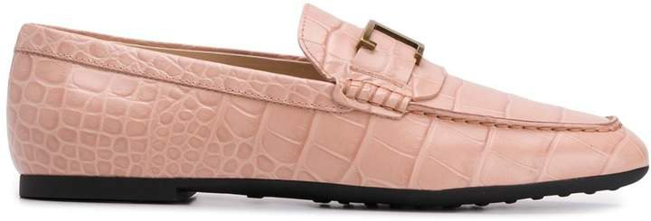 logo-plaque crocodile-effect loafers