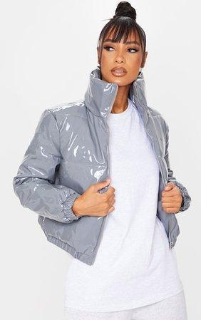 Dark Grey Vinyl Puffer Coat | Coats & Jackets | PrettyLittleThing USA
