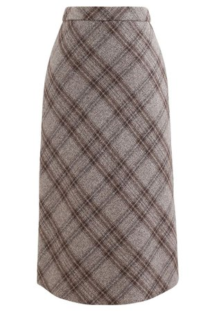 Check Print Wool-Blend Pencil Skirt in Taupe - Retro, Indie and Unique Fashion