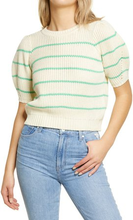 Stripe Puff Sleeve Crewneck Sweater