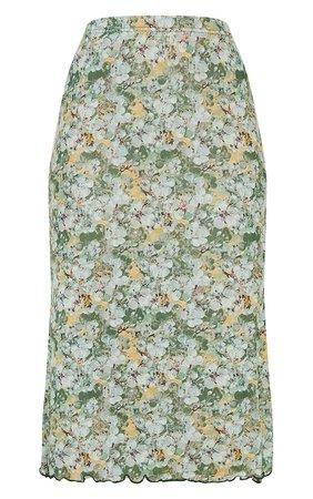 Green Floral Mesh Midi Skirt | PrettyLittleThing