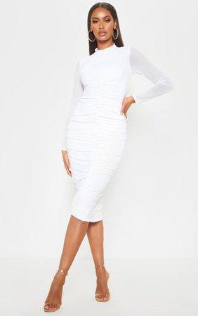 White Mesh Ruched Midi Dress | Dresses | PrettyLittleThing