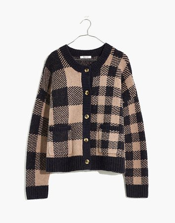 Plaid-Mix Colburne Cardigan Sweater in Coziest Textured Yarn
