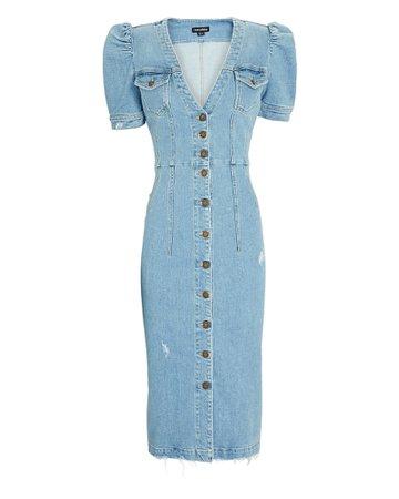 Retrofête Annie Puff Sleeve Denim Dress | INTERMIX®