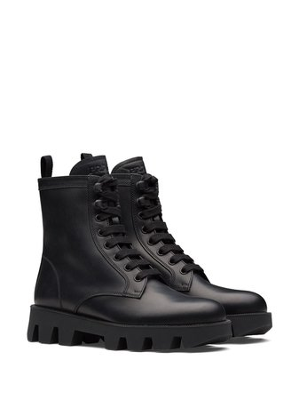Prada calf leather laced booties - FARFETCH