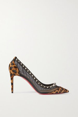 Galatavi Spikes Leather-trimmed Leopard-print Calf Hair And Mesh Pumps - Leopard print