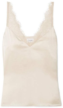 The Arianna Lace-trimmed Silk-charmeuse Camisole - Beige