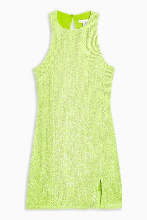 Lime Green Racer Sequin Mini Dress | Topshop
