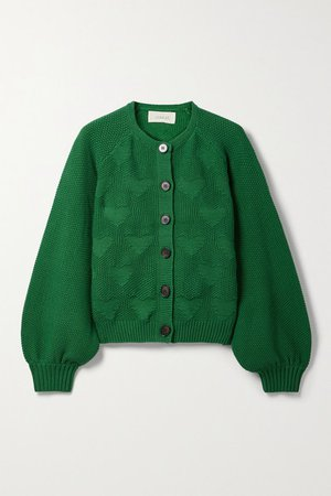 The Sophomore Jacquard-knit Cotton-blend Cardigan - Green