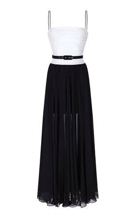 Draped Silk-Chiffon Gown Dress