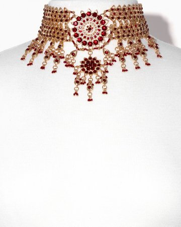 Beaded Red Gold Choker
