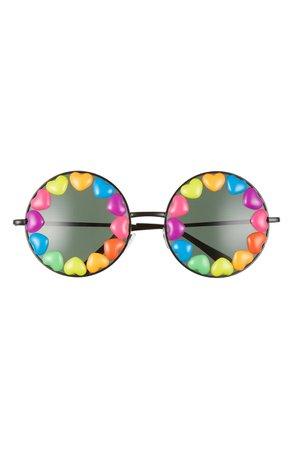 Rad + Refined Rainbow Heart Round Sunglasses   Nordstrom
