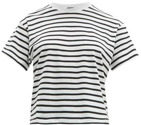 Atm - Striped Cotton T Shirt - Womens - White Black