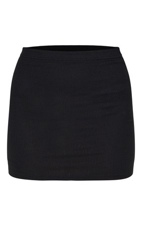 Black Ribbed Mini Skirt | Skirts | PrettyLittleThing USA