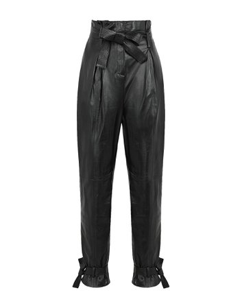 8 By Yoox Leather Tapered Paperbag Pants - Casual Trouser - Women 8 By Yoox Casual Trousers online on YOOX United Kingdom - 13501847JR