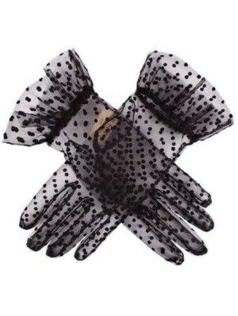 Sheer black polka dot gloves
