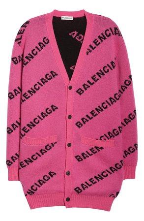 Balenciaga Logo Jacquard Wool Blend Cardigan | Nordstrom