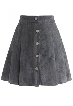 Catch Your Eyes Faux Suede Pleated Skirt in Grey - Skirt - BOTTOMS - Retro, Indie and Unique Fashion