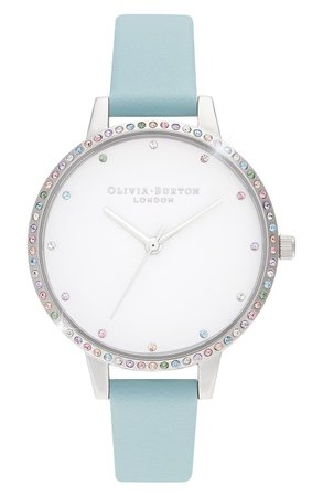 Olivia Burton Rainbow Bezel Leather Strap Watch, 34mm | Nordstrom