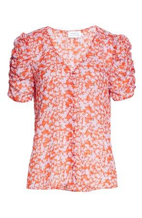 Tanya Taylor Tina Floral Print Ruched Silk & Cotton Top (Regular & Plus Size) | Nordstrom