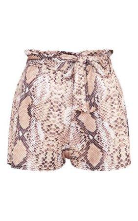 Snakeskin Ruched Tie Waist Short | Shorts | PrettyLittleThing