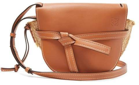 Gate Leather And Raffia Cross Body Bag - Womens - Tan Multi