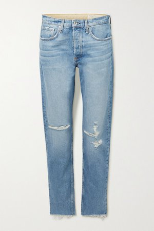 Rosa Distressed Mid-rise Straight-leg Jeans - Light denim