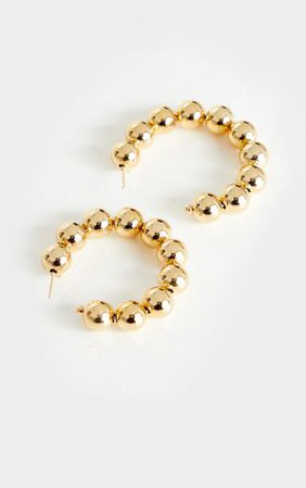 Gold Beaded Large Hoop Earrings   Accessories   PrettyLittleThing