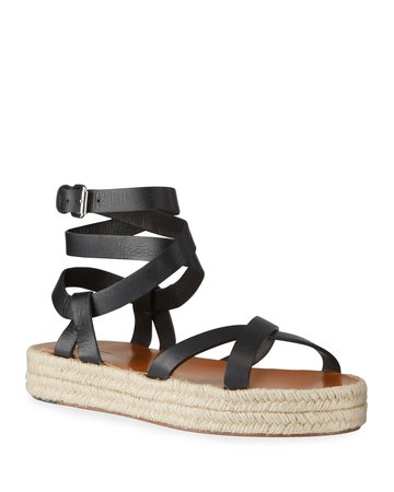 Isabel Marant Melyz Leather Ankle-Wrap Espadrille Sandals   Neiman Marcus