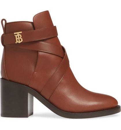 Burberry Pryle TB Monogram Block Heel Bootie (Women) | Nordstrom