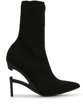 Unravel Project Disconnected-Heel Sock Boots UWIA019F19KNI001 Black   Farfetch