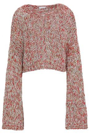 Cropped metallic marled knitted sweater   BRUNELLO CUCINELLI   Sale up to 70% off   THE OUTNET