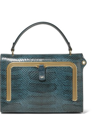 Anya Hindmarch | Postbox small snake-effect leather tote | NET-A-PORTER.COM