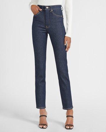 Super High Waisted Dark Wash Slim Jeans