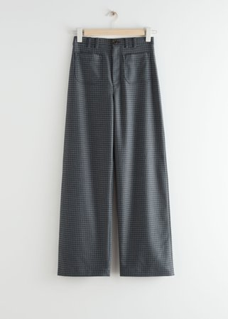 High Waist Straight Leg Trousers - Grey Checks - Trousers - & Other Stories
