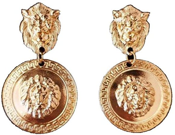 Amazon.com: DOUBNINE Lion Head Earrings Coin Gold Baroque Earrings Vintage 80's for Women: Clothing
