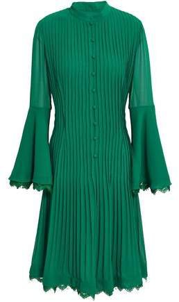 Aghal Lace-trimmed Fluted Pleated Crepe Dress