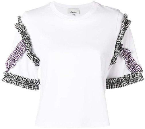 gingham sleeve T-shirt
