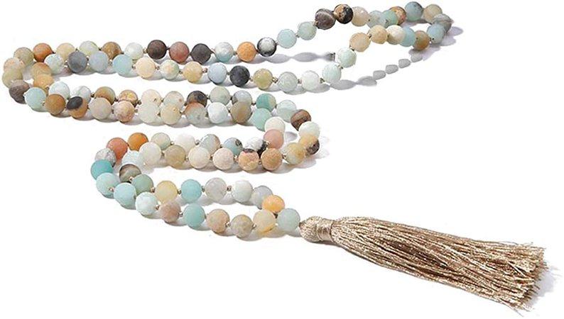 BALIBALI 8MM Beads Chakra Long Mala Necklace Natural Stone Meditation Statement Necklace Japa Yoga Rosary Prayer Charm Beaded Tassel Necklace (8mm Amazonite(108pcs)) | Amazon.com