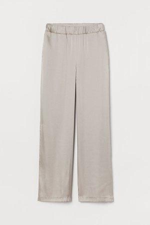Wide-cut Satin Pants - Brown
