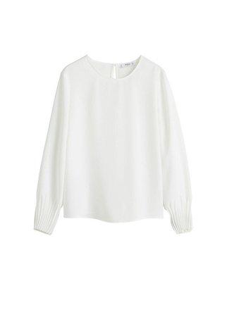 MANGO Pleated sleeves blouse