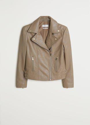 Lapelled leather biker jacket - Women | Mango USA