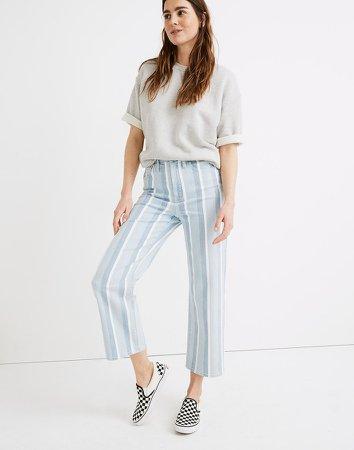 Slim Wide-Leg Jeans in Dion Stripe