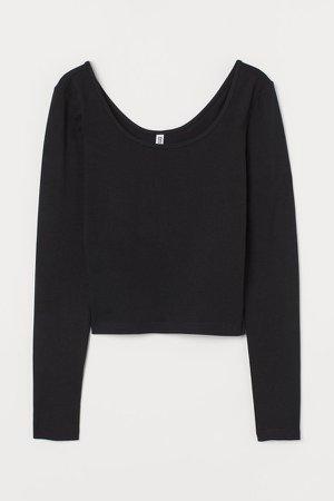 Cotton Jersey Top - Black
