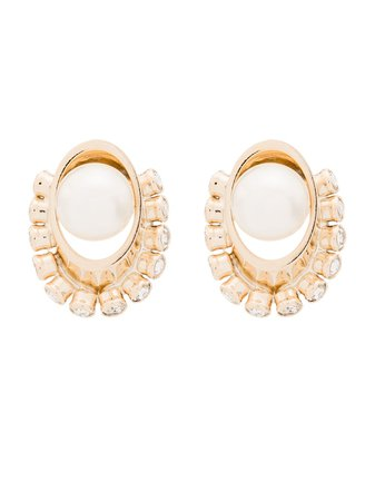 Anton Heunis Crystal And Pearl Orb Earrings SRM309 Gold | Farfetch