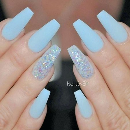 light blue nails art