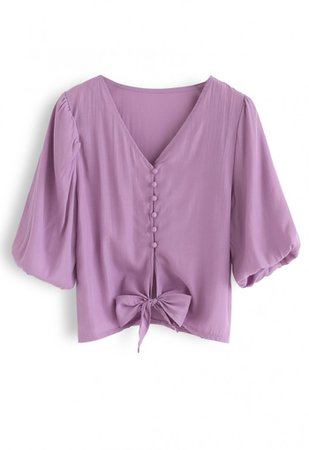 Sweet and Sound Bowknot Crop Top in Purple - NEW ARRIVALS - Retro, Indie and Unique Fashion