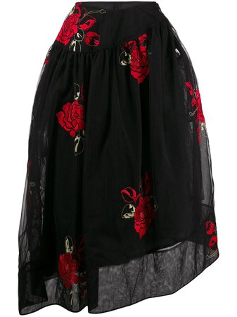 Shop black & red Simone Rocha asymmetric embroidered flower skirt with Express Delivery - Farfetch